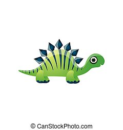 Cute adorable green dinosaur with striped blue lines
