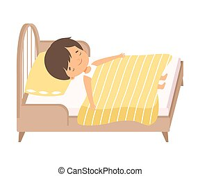 Cute Adorable Little Boy Sleeping Sweetly in His Bed under Blanket Vector Illustration