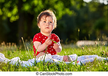 Images Cute Adorable Nice Baby Girl In Red Spring Dress Smiling Sitting Under The Tree Can Stock Photo Cute Adorable Nice Baby Girl In Red Spring Dress Smiling Sitting