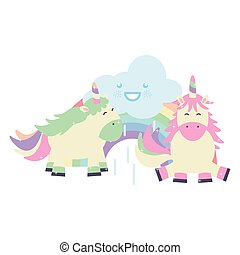 cute adorable unicorns with clouds and rainbow kawaii