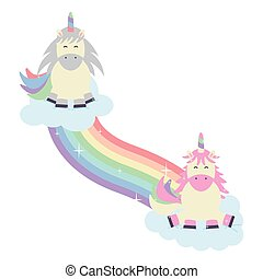 cute adorable unicorns with clouds and rainbow