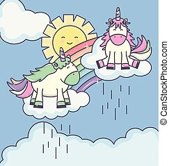 cute adorable unicorns with clouds rainy and rainbow characters