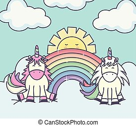 cute adorable unicorns with clouds sunny and rainbow