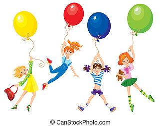 cute, afastado, voando, meninas, balões