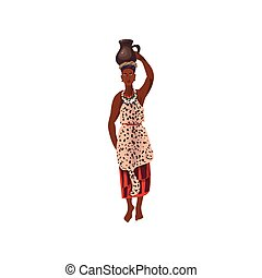 Cute african aborigine woman with ceramic water jug on head...