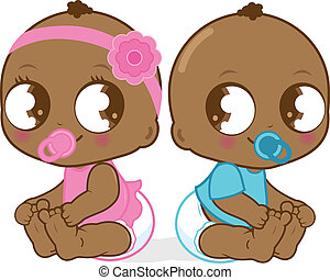 Two cute African American babies, a baby girl and a baby boy. Vector Illustration