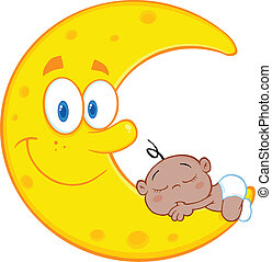 Cute African American Baby Boy Sleeps On The Smiling Moon