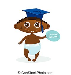 Cute African American Baby Boy Weating Graduation Cap Toddler Happy Cartoon Infant In Diaper