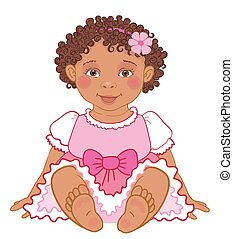 Cute African American baby girl in pink dress Happy princes Vector