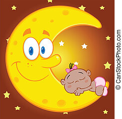 Cute African American Baby Girl Sleeps On The Smiling Moon Cartoon Characters