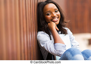 african american girl on college campus