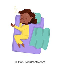 Cute African American Girl Sleeping Sweetly in her Bed, View from Above, Bedtime, Sweet Dreams of Adorable Kid Concept Cartoon Style Vector Illustration