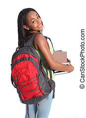 Cute African American high school student girl