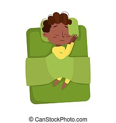 Cute African American Little Boy Sleeping Sweetly in his Bed under Blanket, Bedtime, Sweet Dreams of Adorable Kid Concept Cartoon Style Vector Illustration