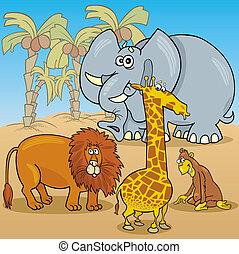 cute african animals cartoon illustration
