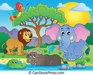 Cute African animals theme image 9 - eps10 vector...