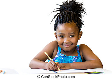 Cute african girl holding color pencil at desk. - Close up ...