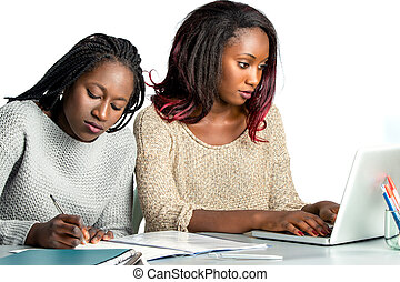 Cute african teen student working on laptop with friend.