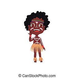 Cute african tribe boy with colorful ornament and beautiful