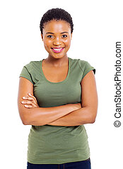 cute african woman with arms folded - portrait of cute...