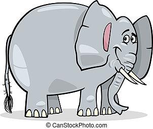 cute, africano, caricatura, ilustração, elefante