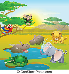 cute, afrikansk, safari, dyr, cartoon, scene