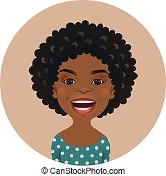 Cute Afro American woman happy facial expression. Smiling African girl avatar. Black skin cheerful person. Dark-skinned smiling cartoon model face.
