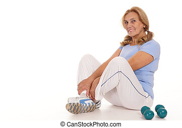 aged woman with dumb bells - cute aged woman with dumb bells...
