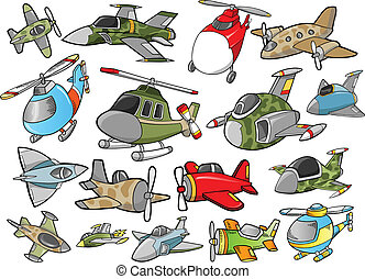 Cute Aircraft Vector Design set - Cute Aircraft Vector...