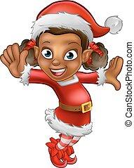 cute, ajudante, duende, caricatura, santa, natal