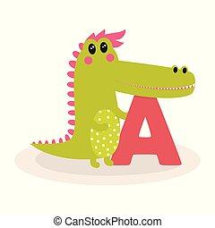 cute, alfabeto, animal, crocodilo