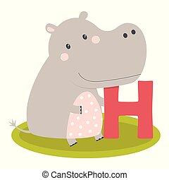 cute, alfabeto, animal, hipopótamo