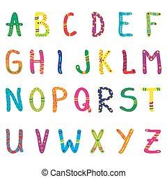 cute, alfabeto, crianças, caricatura