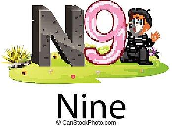 cute, alfabeto, número, n, nove, pantomima