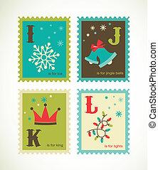 cute, alfabeto, retro, natal, ícones