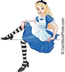 Cute Alice  - Illustration of cute sitting Alice