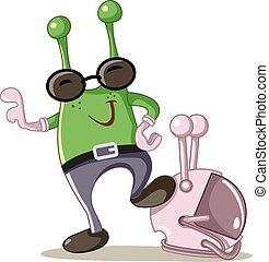 Cute Alien Cartoon Vector