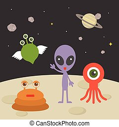 Cute alien character on planet with space background, flat design illustration
