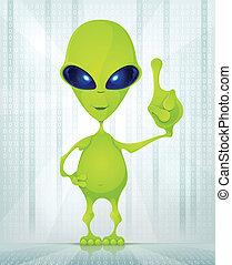 Cute Alien - Cartoon Character Funny Alien on Digital...