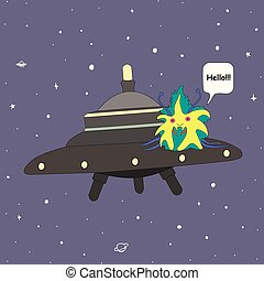Cute alien on a flying saucer, in space, saying hello