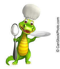 cute Aligator cartoon character with dinner plate and spoons...