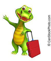 cute Aligator cartoon character with travel bag
