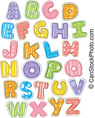 Cute Alphabet Capital Letters - Illustration of Cute and...