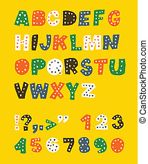 cute, alphabet., infantil, eps, vetorial, 8