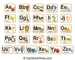 Cute alphabet. Letters and words.