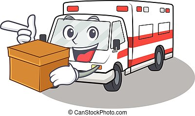 Cute ambulance cartoon character having a box