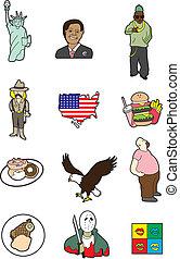 cute America cartoon element