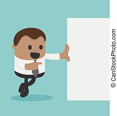 Cute american man Businessman with blank paper