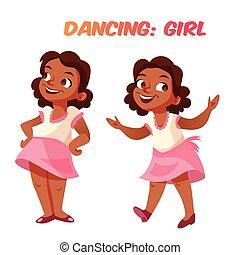 cute, americano, africano, menina, dançar