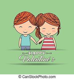 cute, amor, par, valentines, verde, segurar passa, bandeira, feliz